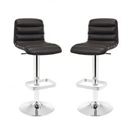 Ripple Bar Stool Set of 2 in Brown