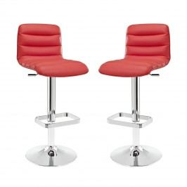 Ripple Bar Stool Set of 2 in Red