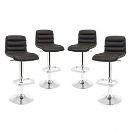 Ripple Bar Stool Set of 4 in Brown