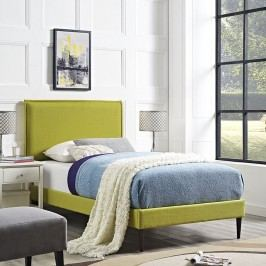 Camille Twin Fabric Platform Bed with Round Tapered Legs in Wheatgrass