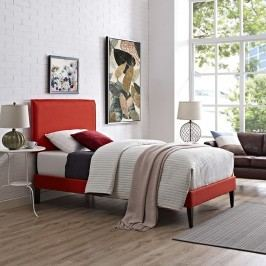 Camille Twin Fabric Platform Bed with Squared Tapered Legs in Atomic Red