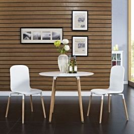 Stack Dining Chairs Wood Set of 2 in White