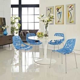 Stencil Dining Side Chair Set of 4 in Blue