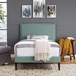 Camille Twin Fabric Platform Bed with Squared Tapered Legs in Laguna
