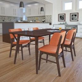 Vestige Dining Side Chair Set of 4 in Walnut Orange