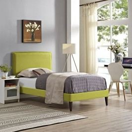 Camille Twin Fabric Platform Bed with Squared Tapered Legs in Wheatgrass