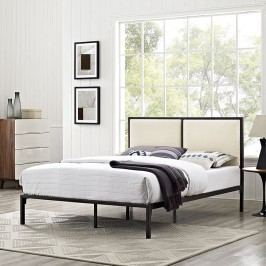 Della King Fabric Bed in Brown Beige