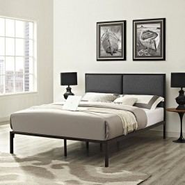 Della King Fabric Bed in Brown Gray