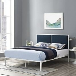 Della King Fabric Bed in White Azure