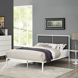 Della King Fabric Bed in White Gray