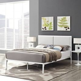 Della Queen Vinyl Bed in White White