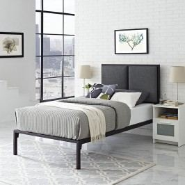 Della Twin Fabric Bed in Brown Gray
