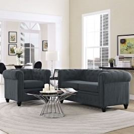 Earl 2 Piece Fabric Living Room Set in Gray