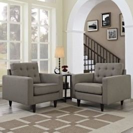 Empress Armchair Upholstered Set of 2 in Granite