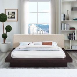 Freja Queen Fabric Platform Bed in Cappuccino Beige