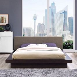 Freja Queen Fabric Platform Bed in Cappuccino Brown