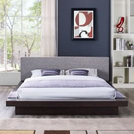 Freja Queen Fabric Platform Bed in Cappuccino Gray