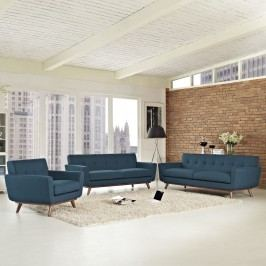 Engage Sofa Loveseat and Armchair Set of 3 in Azure