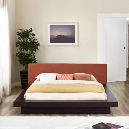 Freja Queen Fabric Platform Bed in Cappuccino Orange