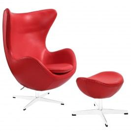 Glove Leather Lounge Chair and Ottoman in Red