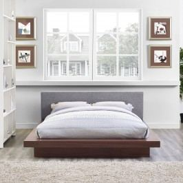 Freja Queen Fabric Platform Bed in Walnut Gray