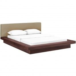 Freja Queen Fabric Platform Bed in Walnut Latte