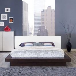 Freja Queen Vinyl Platform Bed in Cappuccino White