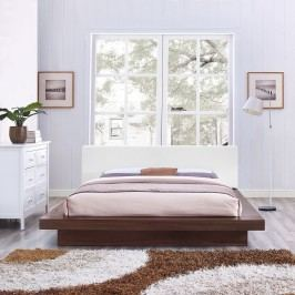 Freja Queen Vinyl Platform Bed in Walnut White