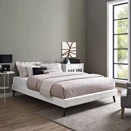 Helen Full Vinyl Bed Frame with Round Splayed Legs in White