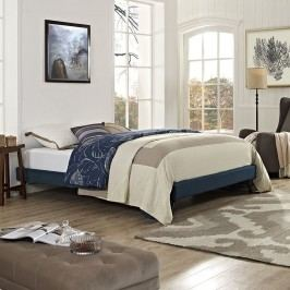 Helen King Fabric Bed Frame with Round Splayed Legs in Azure