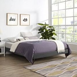 Helen King Fabric Bed Frame with Round Splayed Legs in Gray