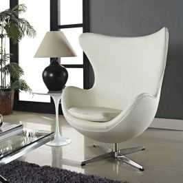 Glove Leather Lounge Chair in White