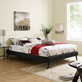 Helen Queen Vinyl Bed Frame with Round Splayed Legs in Black