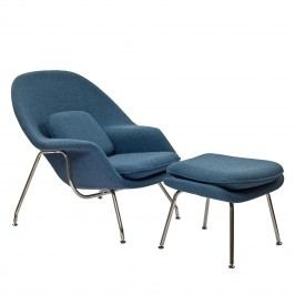 W Fabric Lounge Chair in Blue Tweed