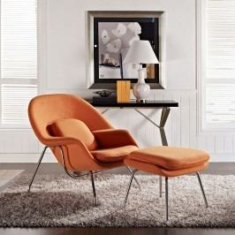 W Fabric Lounge Chair in Orange