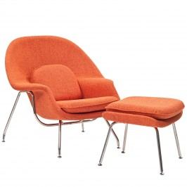 W Fabric Lounge Chair in Orange Tweed