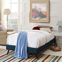 Helen Twin Fabric Bed Frame with Round Splayed Legs in Azure