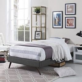 Helen Twin Fabric Bed Frame with Round Splayed Legs in Gray