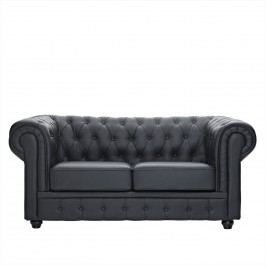 Chesterfield Leather Loveseat in Black