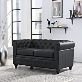 Earl Vinyl Loveseat in Black