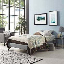 Helen Twin Fabric Bed Frame with Round Splayed Legs in Light Gray