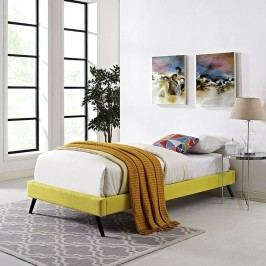 Helen Twin Fabric Bed Frame with Round Splayed Legs in Sunny