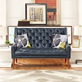 Peruse Vinyl Loveseat in Blue