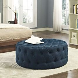 Amour Fabric Ottoman in Azure