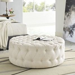 Amour Fabric Ottoman in Beige