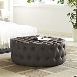 Amour Fabric Ottoman in Brown