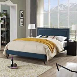 Jessamine Full Fabric Platform Bed with Round Splayed Legs in Azure