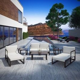 Fortuna 9 Piece Outdoor Patio Sectional Sofa Set in Brown White