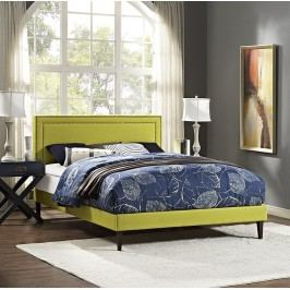 Jessamine Full Fabric Platform Bed with Squared Tapered Legs in Wheatgrass