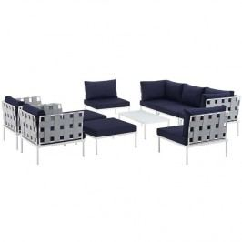 Harmony 10 Piece Outdoor Patio Aluminum Sectional Sofa Set in White Navy